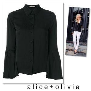 Alice + Olivia Myrtle Trumpet Sleeve Silk Blouse L